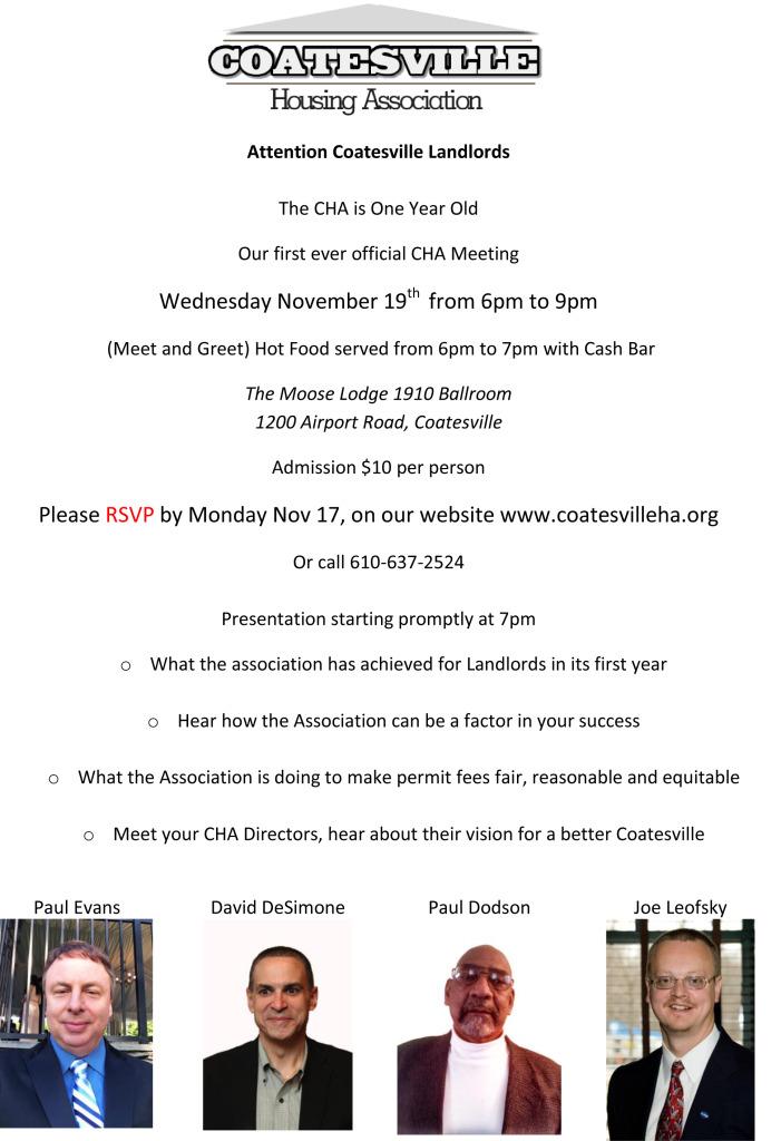 1st Meeting Nov 19th Flyer - CHA-1